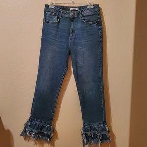 Zara Trafaluc Ruffle Distressed Hem Jeans Size 9